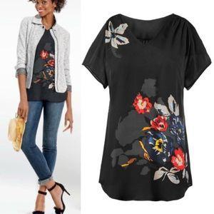 Cabi Fiore 5020 Floral V-Neck Short Sleeve Blouse